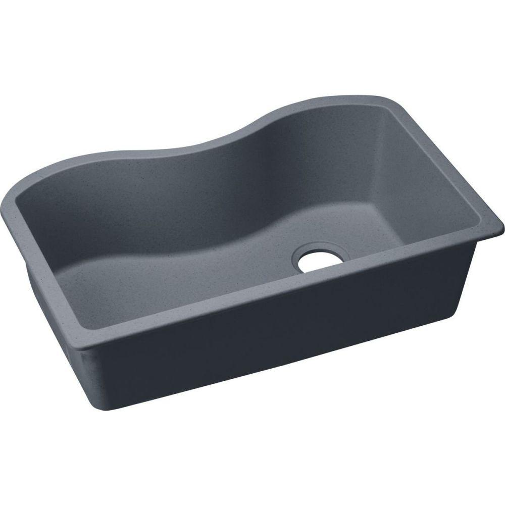 Elkay ELGUS3322RGY0 Granite 33-Inch X 20-Inch X 9.5-Inch Single Bowl Undermount Kitchen Sink, Dusk Gray