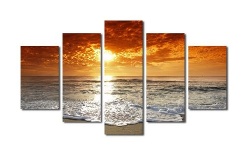 Extra Large 36x60 Inch Sunset on Sea Beach Painting Picture Canvas Prints Wall Art Decor Framed Ready to Hang - 5 Panels Modern Seascape Giclee Ocean Art Work for Home and Office Decoration
