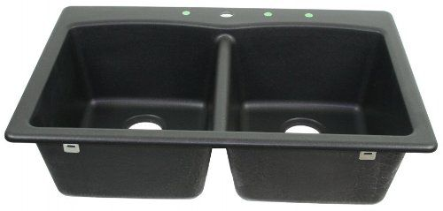 Franke USA EDOX33229-1 Double Bowl Sink Granite 9-Inch Deep, Onyx