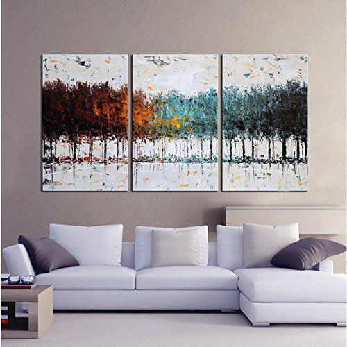 Gardenia Art - Colorful Forest Abstract Art 100% Hand Painted Contemporary Oil Paintings,Modern Artwork Wall Art for Room Decoration,3 Pcs/Set,16x24 inch,Unframed ¡­