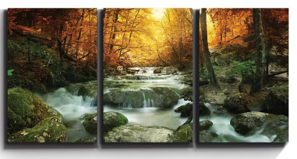 """3 Piece Canvas Print - Contemporary Art, Modern Wall Decor - Golden leaves and forest waterfall serene - Giclee Artwork - Gallery Wrapped Wood Stretcher Bars - Ready to Hang- Wall26 - 16""""x24""""x3 Panels"""