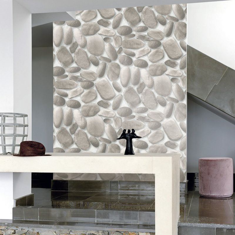 "HaokHome 457003 Modern Faux Stone Wallpaper Roll Gray/Off White 3D Cobblestone Realistic Paper Room Wall Decoration 20.8"" x 393.7"""
