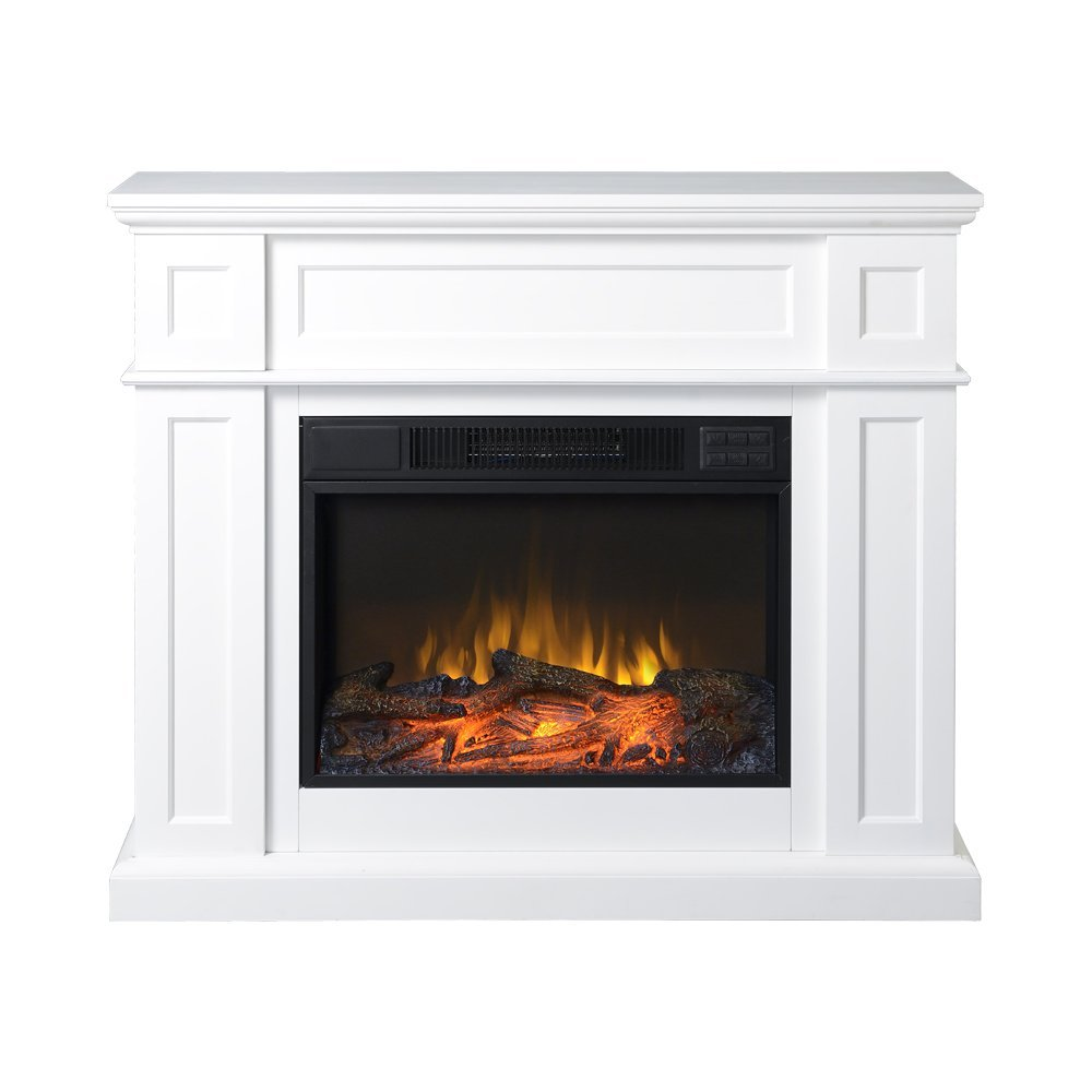 "Homestar ZCUMBRIA Wide Electric Fireplace Mantel, 41"" x 11 7/8"" x 34 1/8"", White"