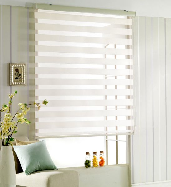 Custom Cut to Size , [Winsharp Woodlook] Horizontal Window Shade Blind Zebra Dual Roller Blinds & Treatments , White_ivory , W 35 x H 64 (Inch) , 92 Inch Wide by 72 Inch Long