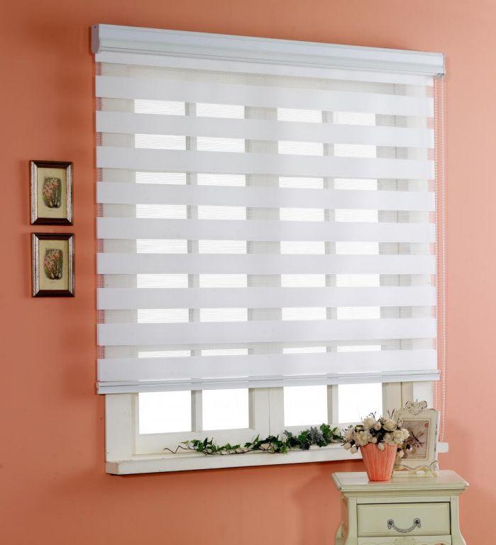 Custom Cut to Size , [Winsharp Basic , white , W 27 x H 47 (Inch)] Horizontal Window Shade Blind Zebra Dual Roller Blinds & Treatments , Maximum 91 Inch Wide by 103 Inch Long