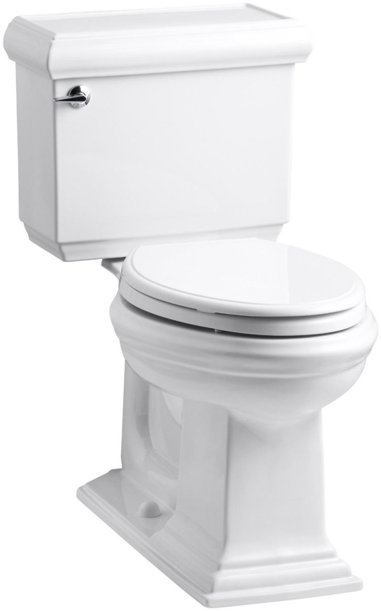 KOHLER K-3816-0 Memoirs Comfort Height Two-Piece Elongated 1.28 gpf Toilet with Classic Design, White