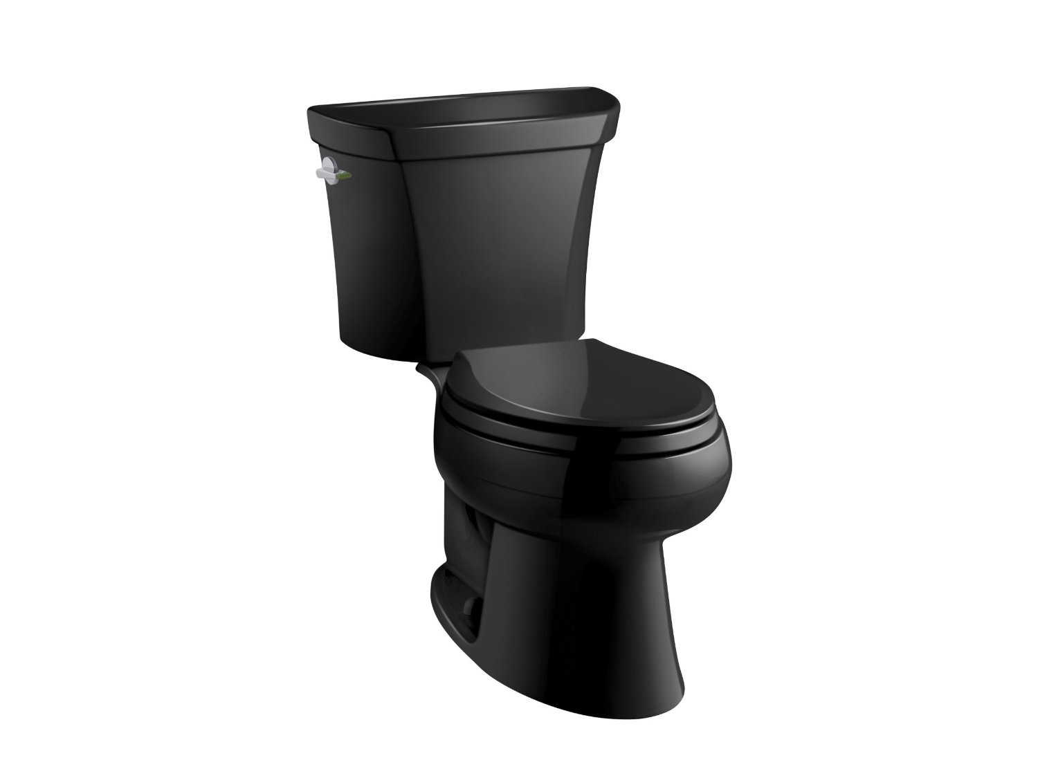 KOHLER K-3988-7 Wellworth Two-Piece Elongated Dual-Flush Toilet with Class Five Flush System and Left-Hand Trip Lever, Black