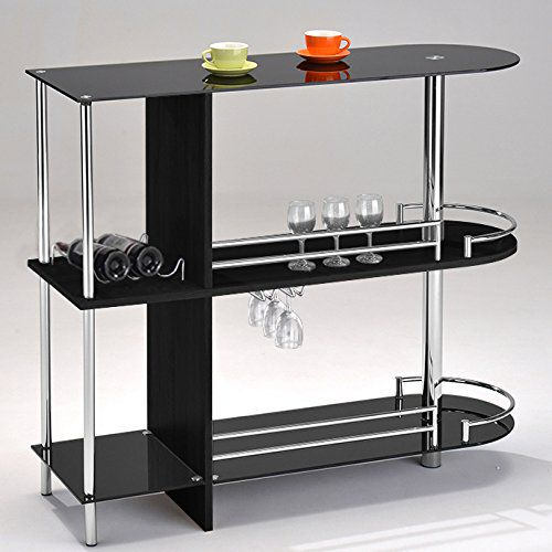 Kings Brand Furniture Bar Table with Two Tempered Glass Shelves, Black