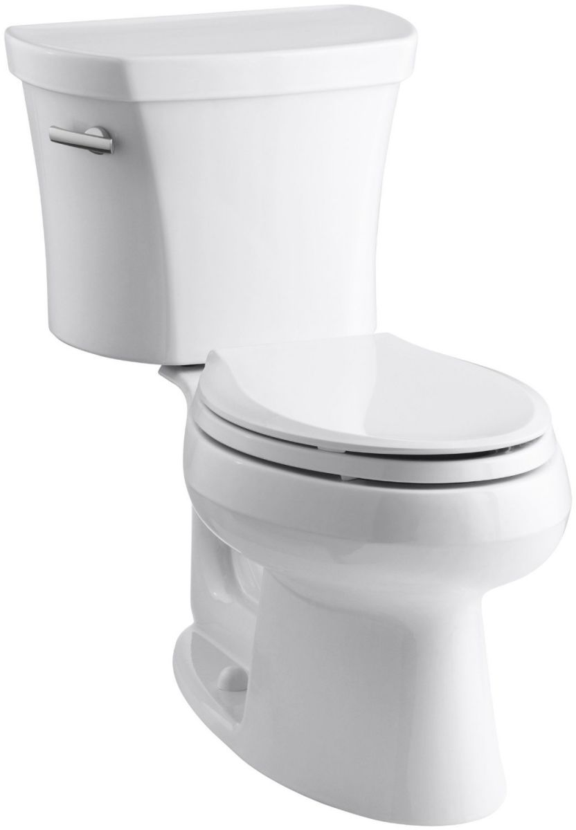 Kohler K-3948-0 Wellworth Elongated 1.28 gpf Toilet, 14-inch Rough-In, White