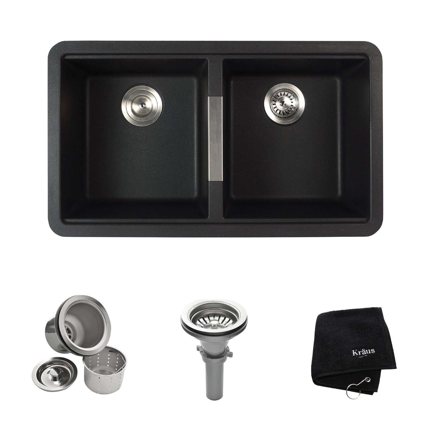 Kraus KGU-434B 33 inch Undermount 50/50 Double Bowl Black Onyx Granite Kitchen Sink