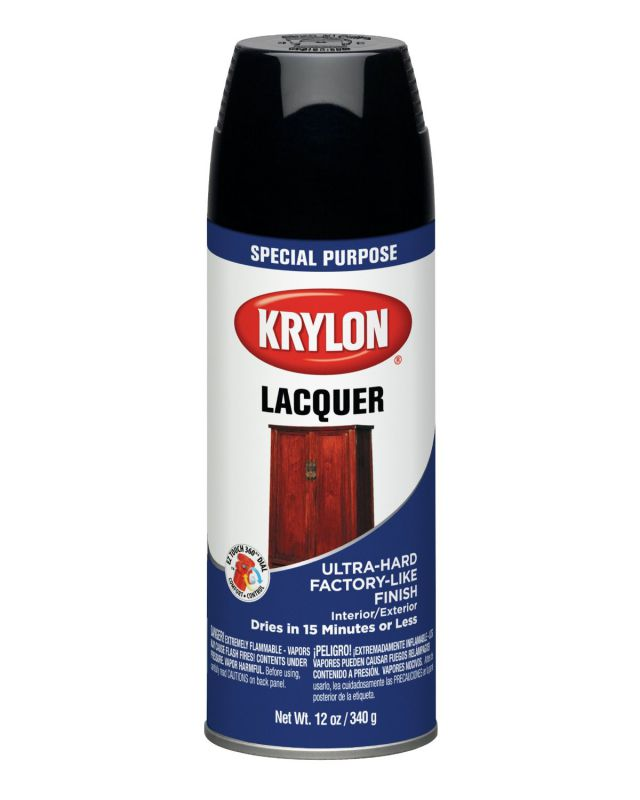 Krylon 7030 Lacquer Spray Paint Gloss Black, 12-Ounce Aerosol