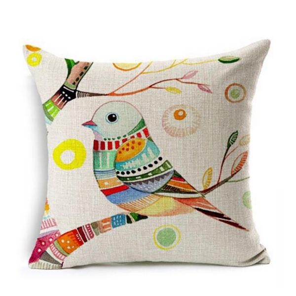 Me Brands European Rural Pillow Cushion Linen Cushion Bird And Flower Parrot Cushion Decorative Pillows Home Decor Throw Pillow Cushion 18Inches * 18Inches (ME-BZX-303)