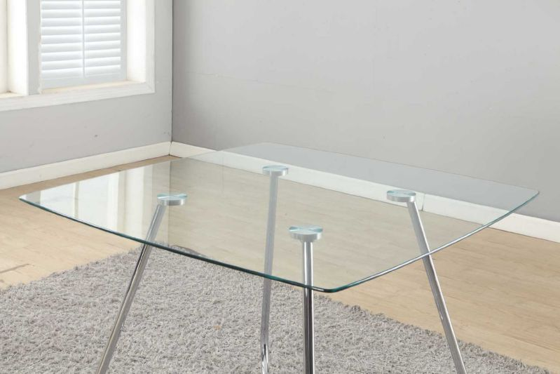 Monarch Specialties Chrome Metal Tempered Glass Dining Table, 8mm/40-Inch