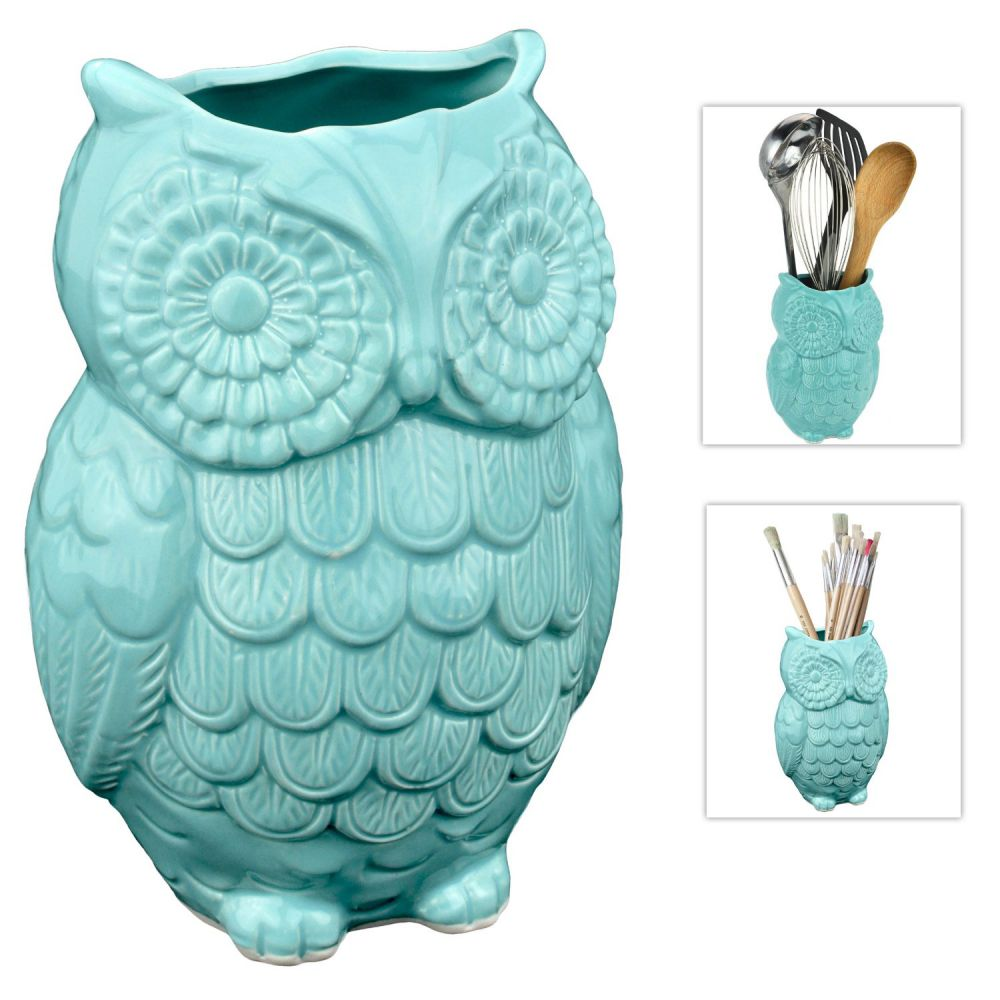 MyGift® Aqua Blue Owl Design Ceramic Cooking Utensil Holder / Multipurpose Kitchen Storage Crock
