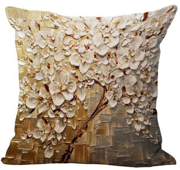 Oil Painting Flowerss Printing Stuffed Cushion LivebyCare Linen Cotton Cover Filling Stuffing Throw Pillow Insert Filler Pattern Zipper For Divan Divan Bed Car Seat