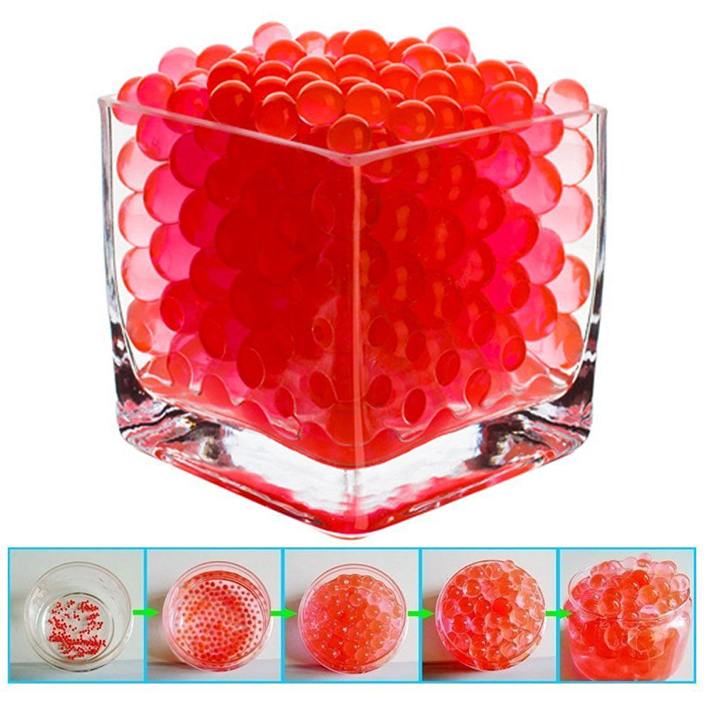 BEAUTIFUL! SHEING® [ 100 PACK ]- RED Water Beads Pearls Centerpiece Wedding Tower Vase Filler,Eco-Friendly Biodegradable Non-Toxic Non-fade & Colorfast ,Safe To Reusable up to 2 years; Ideal for DIY Crafts,Plants,Candle decor and More!