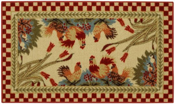 "Rooster Checkered Non-Slip (Non-Skid) Kitchen Mat Rubber Back Rug 18"" x 31"" CUC5529"