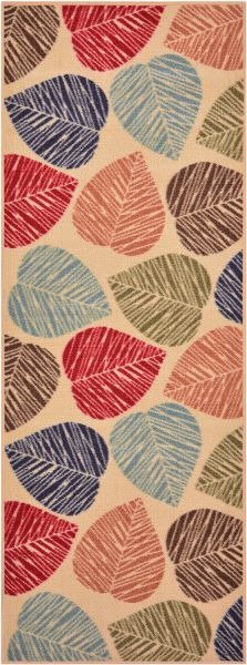 "Rubber Collection Leaves Beige Multi-Color Printed Non Skid Slip Rubber Back Latex Contemporary Modern Area Rugs and Runners (1162) (Multi Leaves, 23""x59"")"