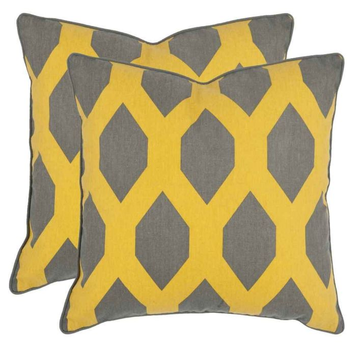 Safavieh Pillows Collection Allen Decorative Pillow, 18-Inch, Yellow and Grey, Set of 2