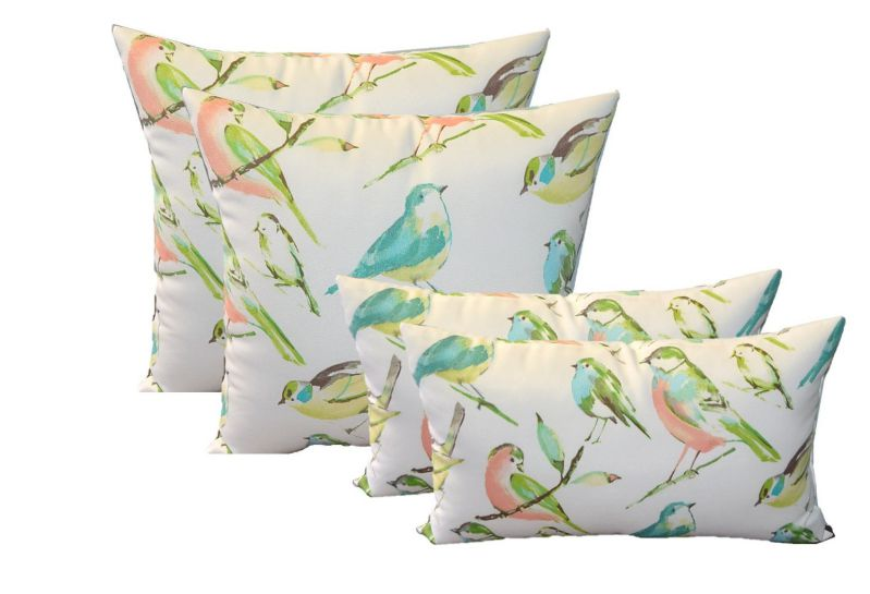 """Set of 4 Indoor / Outdoor Pillows - 17"""" Square Throw Pillows & 11"""" x 19"""" Rectangle / Lumbar Decorative Throw Pillows - White, Coral, Turquoise, Brown, Green, Yellow Pastel Birds on a Branch Fabric"""