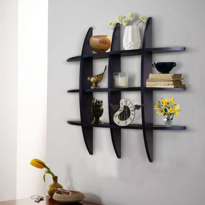 Shelving Solution Cross Display Wall Shelf (Black)