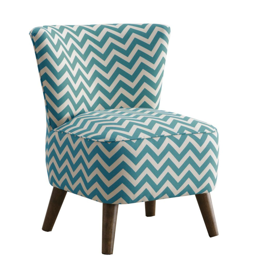 Skyline Furniture Mid Century Modern Chair in Zig Zag Turquoise