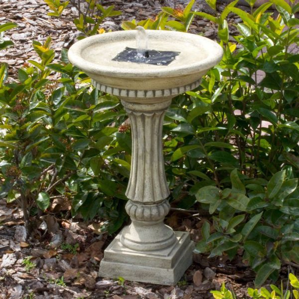 Smart Solar 27686M01 Ashbourne Granite Style Solar Birdbath Water Fountain with Integrated Solar Panel