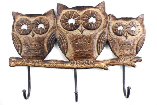 Store Indya Owl Shaped Wooden Wall Key Holder with 3 Hooks