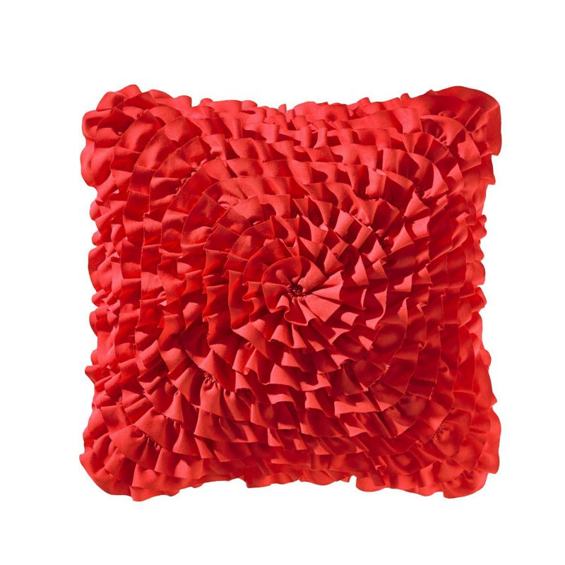 Teen Vogue Ruffle Red Decorative Pillow, 14-Inch