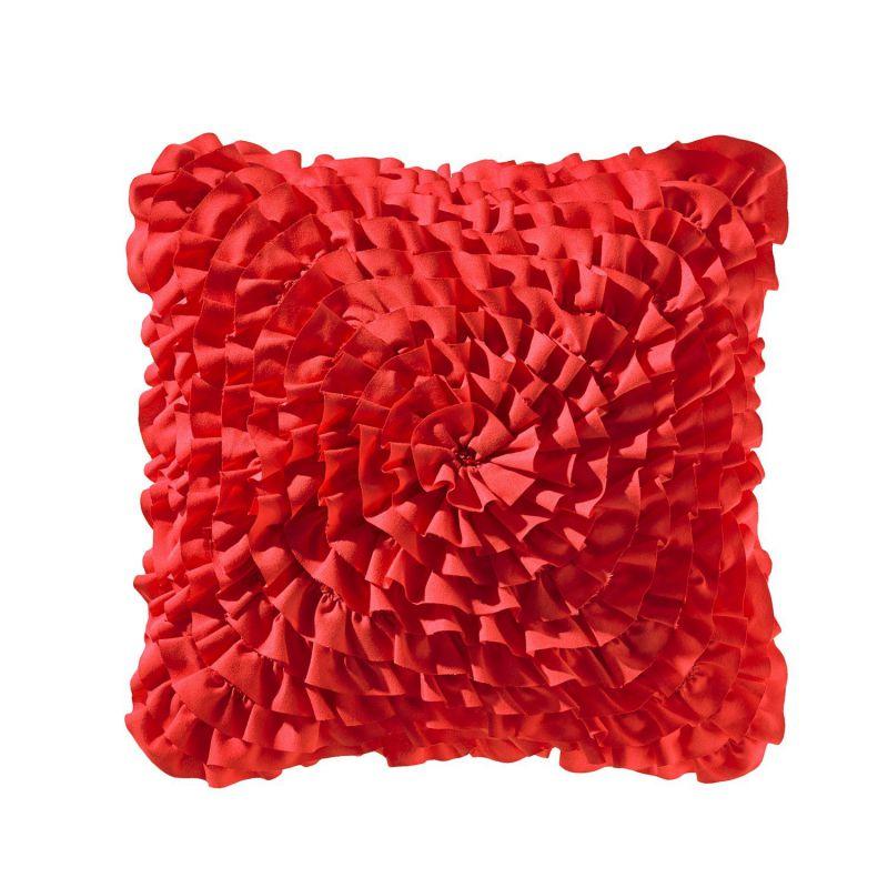 Teen Vogue Ruffle Red Decorative Pillow, 14-Inch