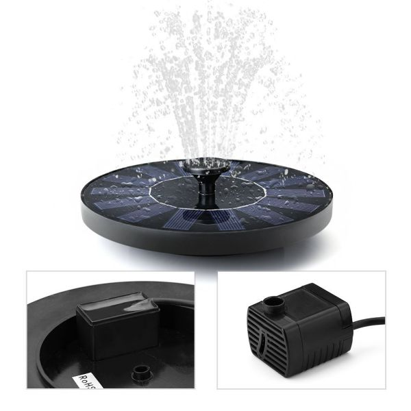 VicTsing 1.4W Cute Solar Powered Bird bath Fountain Pump Outdoor Watering Submersible Pump, Improved Nozzle & Reach Up 45 cm, Free Standing Water Pump for Pond, Pool, Garden, Fish Tank, Aquarium