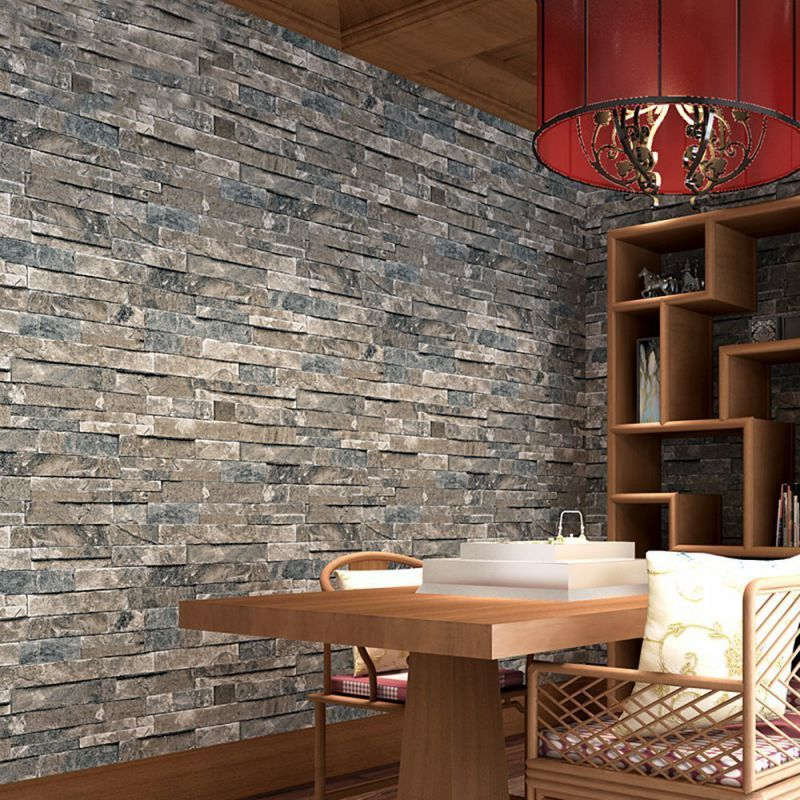 Wallpaper 3d Brick Blocks Home Room Decoration,57 Sq. Ft/Roll,Vintage Gray&Yellow